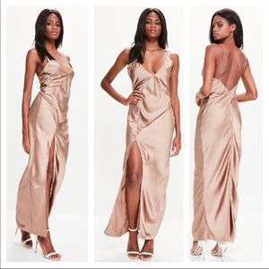 Missguided Silky Slit Dress